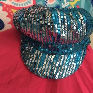 Turquoise blue sequin party hat